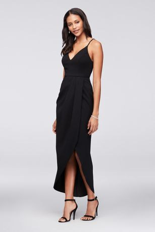 Tulip Hem Crepe Midi Dress Davids Bridal