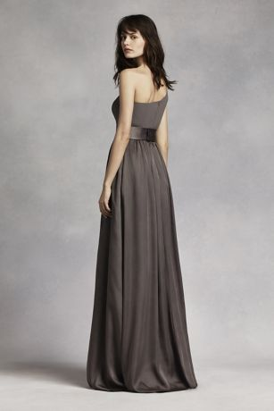 One Shoulder Dress with Satin Sash  Davids Bridal