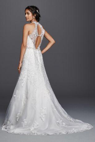Jewel Lace Wedding Dress with Halter Neckline  Davids Bridal
