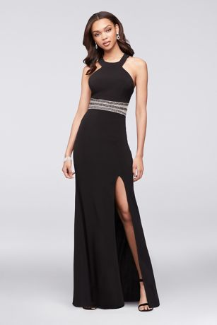 Jersey Halter Gown with Beaded Illusion Waist  Davids Bridal