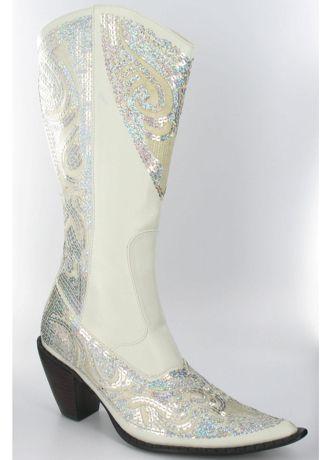 Davids Bridal Wedding  Bridesmaid Shoes High Heel Cowboy