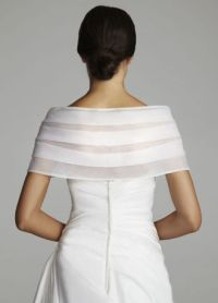 David's Bridal Organza Shawl/Wrap with Front Clasps   eBay