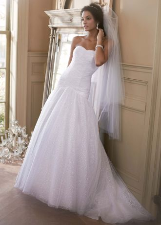 Davids Bridal Sweetheart Sequin Tulle Ball Gown Wedding Dress with Corset Back  eBay