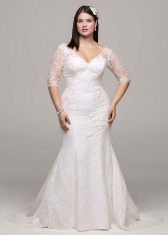 Davids Bridal 34 Sleeve All Over Lace Trumpet Wedding Dress  eBay