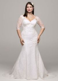 David's Bridal 3/4 Sleeve All Over Lace Trumpet Wedding ...