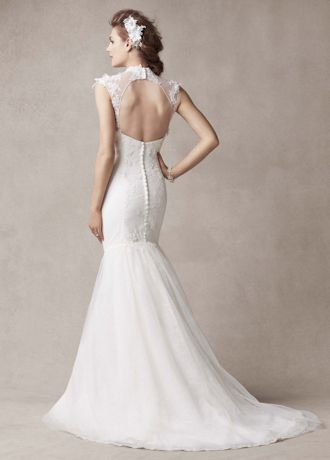 Melissa Sweet Chantilly Lace Wedding Dress with Tulle High Neck Detail  eBay