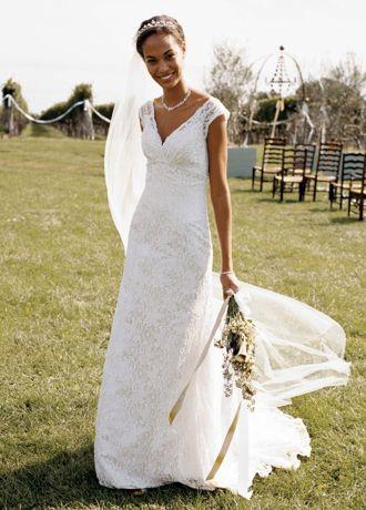 Davids Bridal Petite All Over Beaded Lace Trumpet Wedding Dress Style 7T9612  eBay