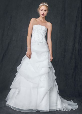 Davids Bridal Wedding Dress Organza Corset with Beaded Lace Appliques Style  eBay