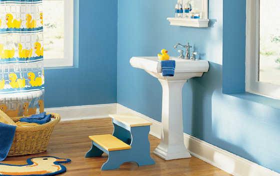 Baños Amarillos Con Azul: para el baño de los niños Combinado con el amarillo queda genial