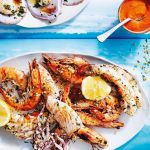 Grilled Seafood Platter With Romesco Sauce And Herb Crumbs Recipes Delicious Com Au