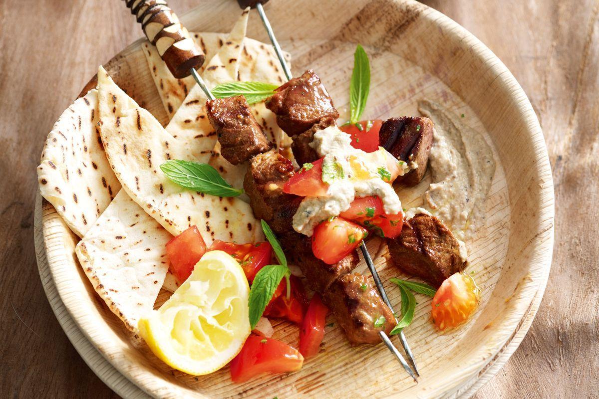 Lamb souvlaki with minted tomatoes  Recipes  delicious