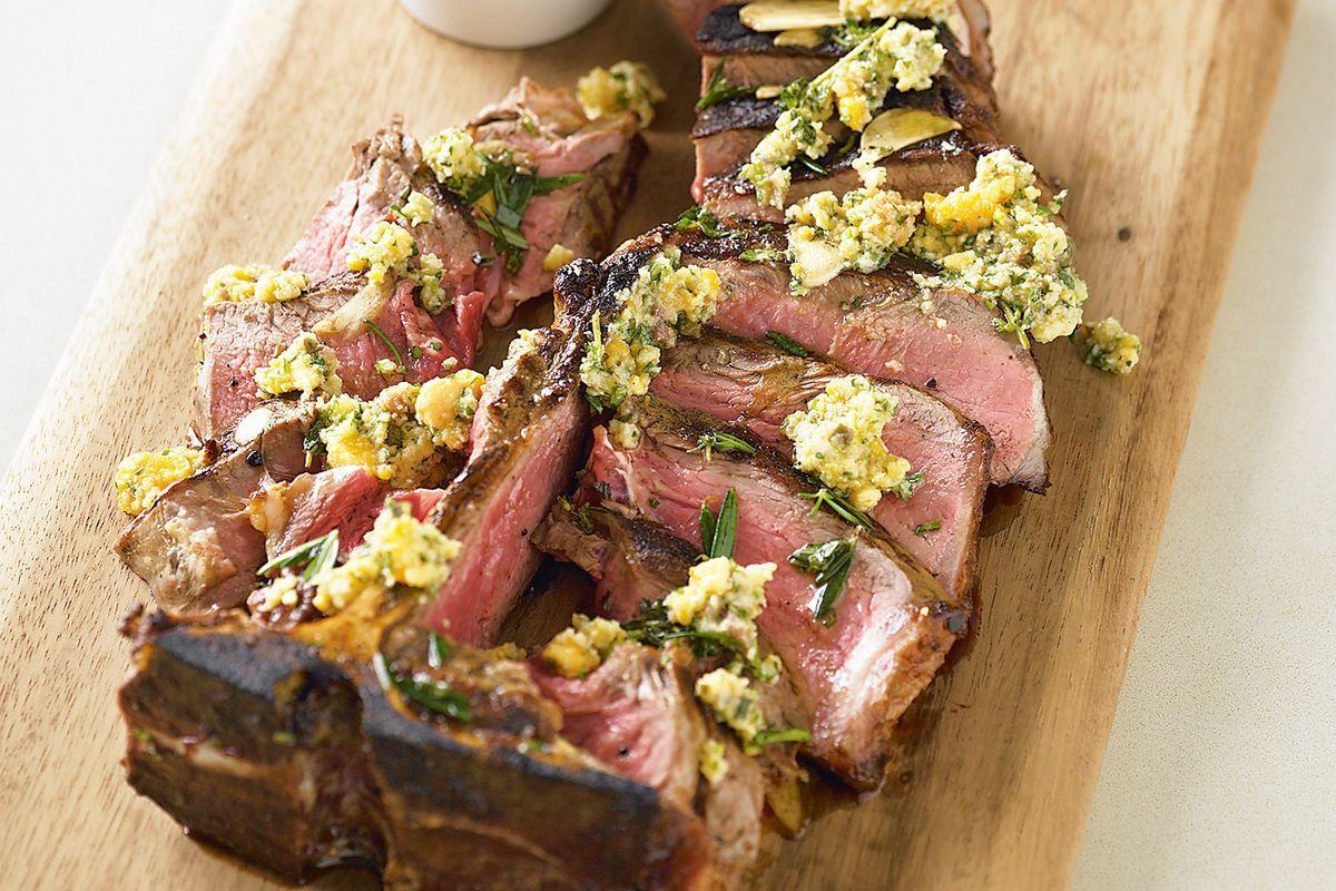 Bistecca alla fiorentina with salsa dragoncello steak