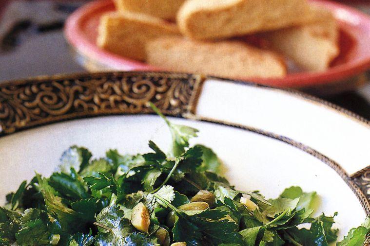 Morrocan flatbread with salad and ras el hanout