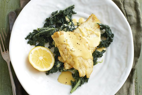 Panfried whiting fillets with garlic kale Recipes