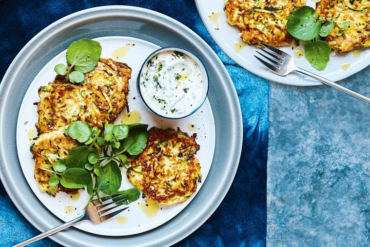Zucchini fritters with herbed yoghurt