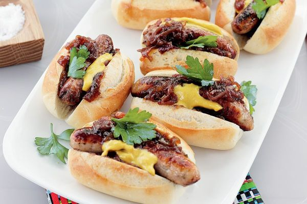 Barbecued sausage rolls with caramelised onions Recipes