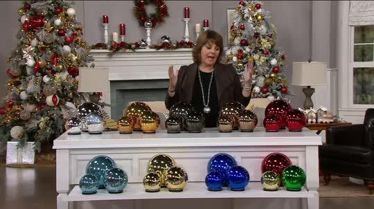 Set Of 3 Lit Indoor Outdoor Mercury Glass Spheres WTimer