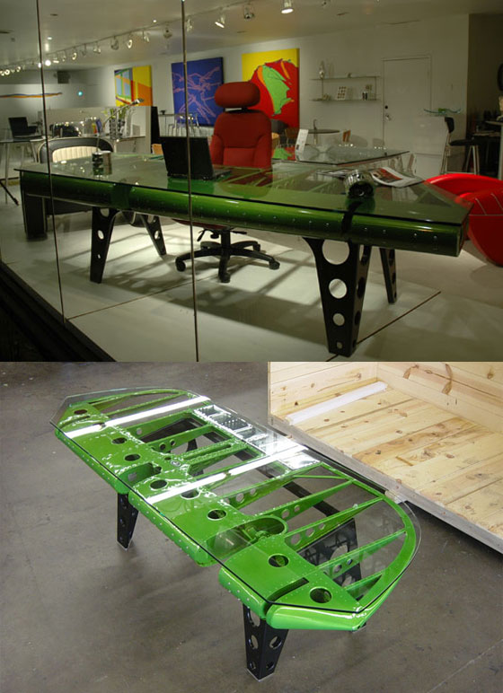 Cool Furniture Made from Vintage Airplane Parts  Design Swan