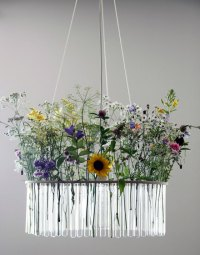 Beautiful and Unusual Glass Tube Chandelier  Design Swan