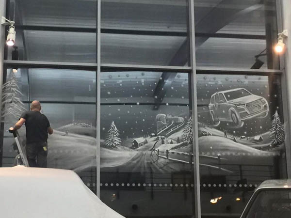 Incredible Winter Scenes on Window Created by Snow Spray  Design Swan