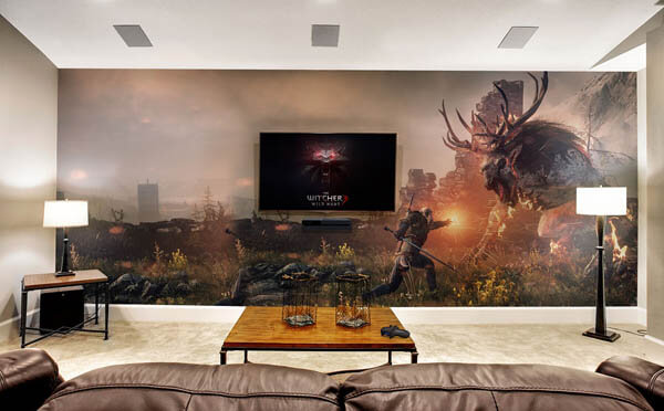 A jungle gym is an incredible wall decor too. Epic Video Game Room with Immersive Wall Mural - Design Swan