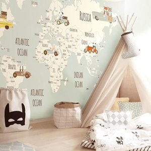 bedroom wall kid map kidsroom rooms nursery childs enfant hands decor child trends must know globe take papier peint interieure