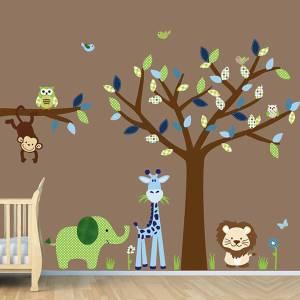 wandgestaltung nursery children rooms babyzimmer wallpapers kinderzimmer neutral tree kid stickers decals animal decoration jungle safari childrens bedroom amazing gestalten