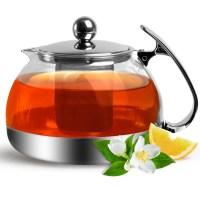 Teekanne Glas 1,2 L Edelstahl Sieb Filter Deckel Tee Kanne ...