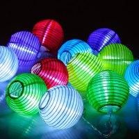 24 LED Lichterkette Lampion Garten Stofflaterne Lichter