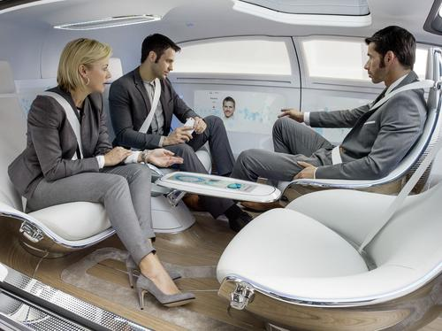 Autonomous vehicles will create time for personal or business pursuits by driver and passengers. Features envisioned for this Mercedes-Benz concept car include social seating, teleconferencing on special 'smart' surfaces, and special lighting. (Source: Mercedes-Benz)