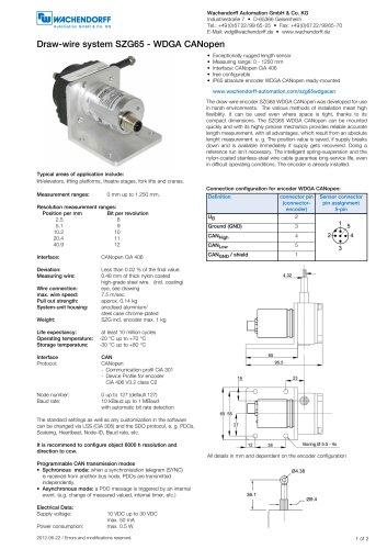 Wachendorff Automation GmbH & Co. KG 所有产品目录和PDF技术手册