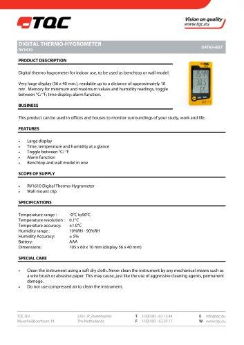 TQC Sheen BV 所有產品目錄和PDF技術手冊