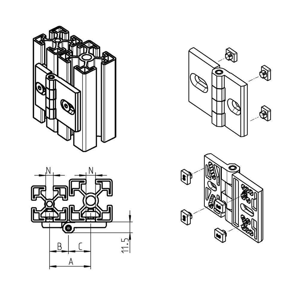 medium resolution of  die cast zinc hinge concealed corner screw in