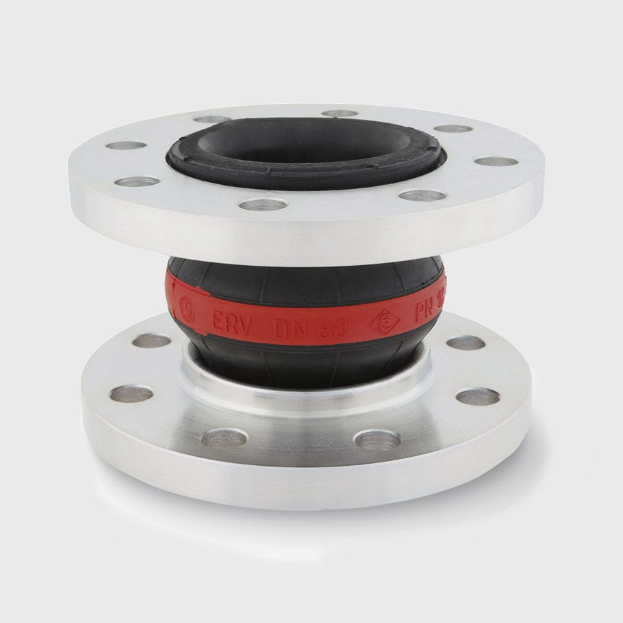 Rubber pipe expansion joint - ERV-R series - ELAFLEX - round / flange / for water