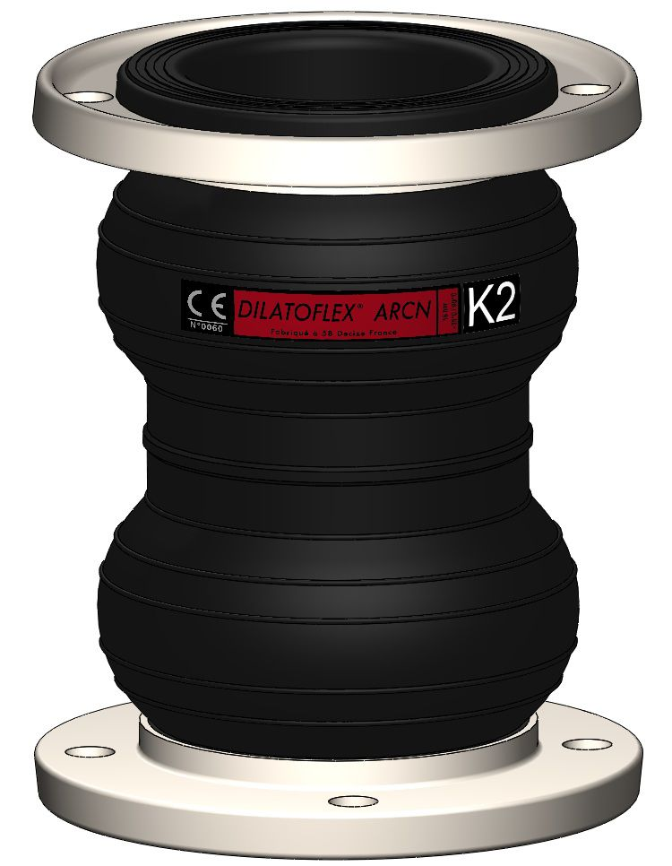 Rubber pipe expansion joint - K series - SumiRiko Industry France SA.S. - round / flange