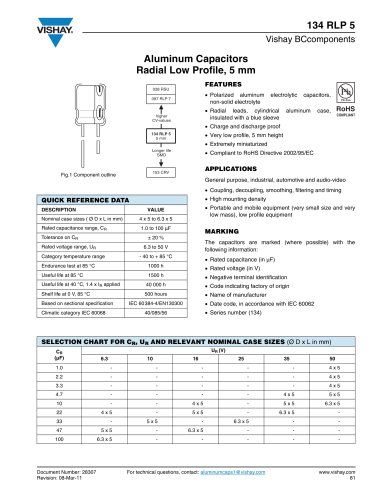 Capacitors Radial Vishay Pdf Catalogs Technical