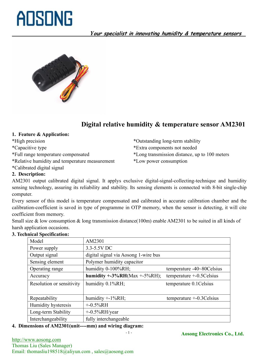 hight resolution of digital humidity and temperature sensor am2301 aosong 1 7 pages
