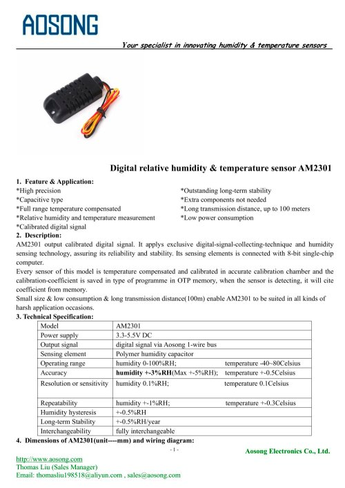 small resolution of digital humidity and temperature sensor am2301 aosong 1 7 pages