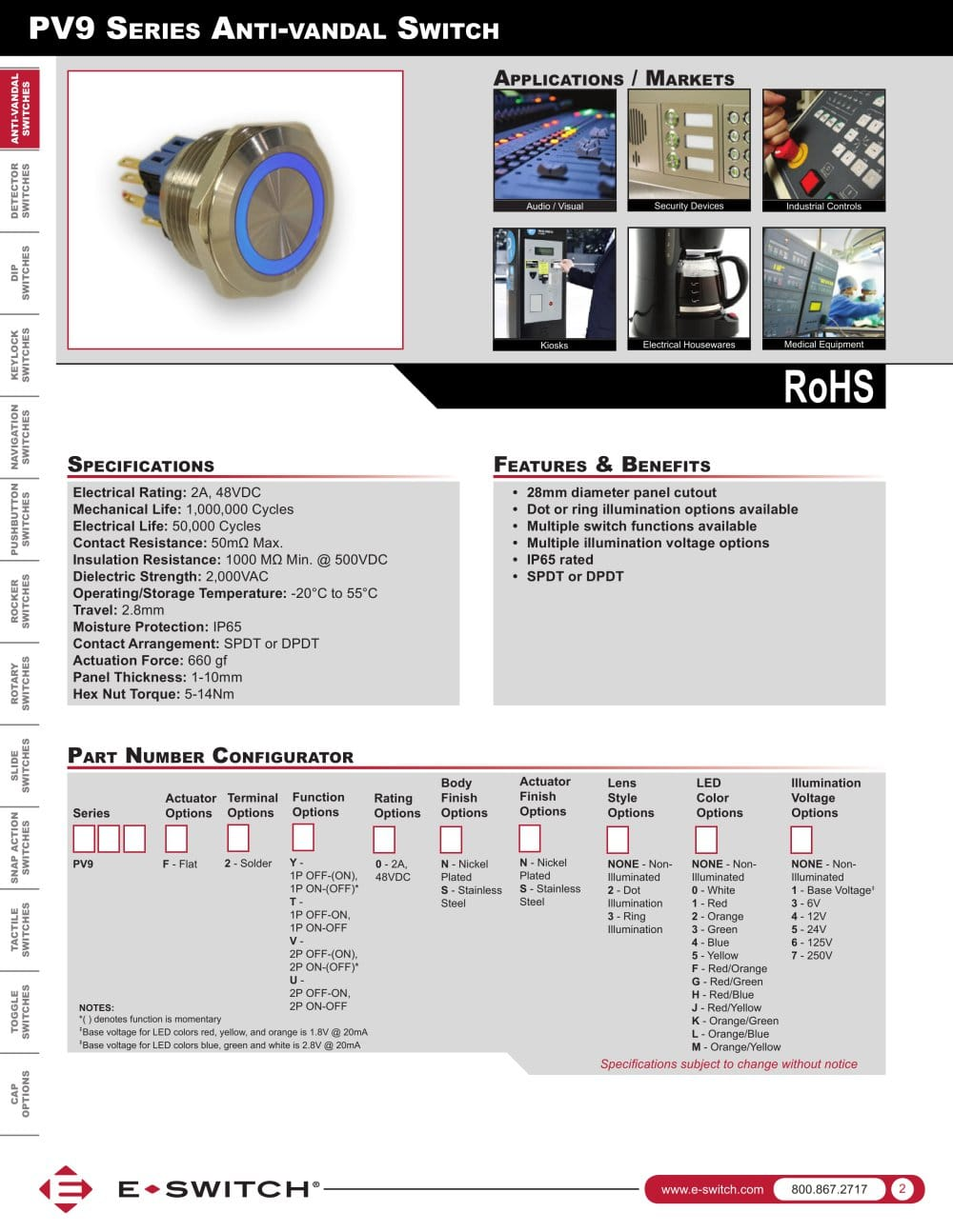 medium resolution of pv9 series anti vandal switch 1 3 pages