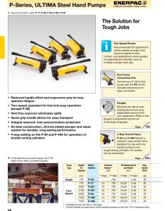 series ultima hydraulic steel hand pumps pages also enerpac pdf catalogue rh pdfindustry