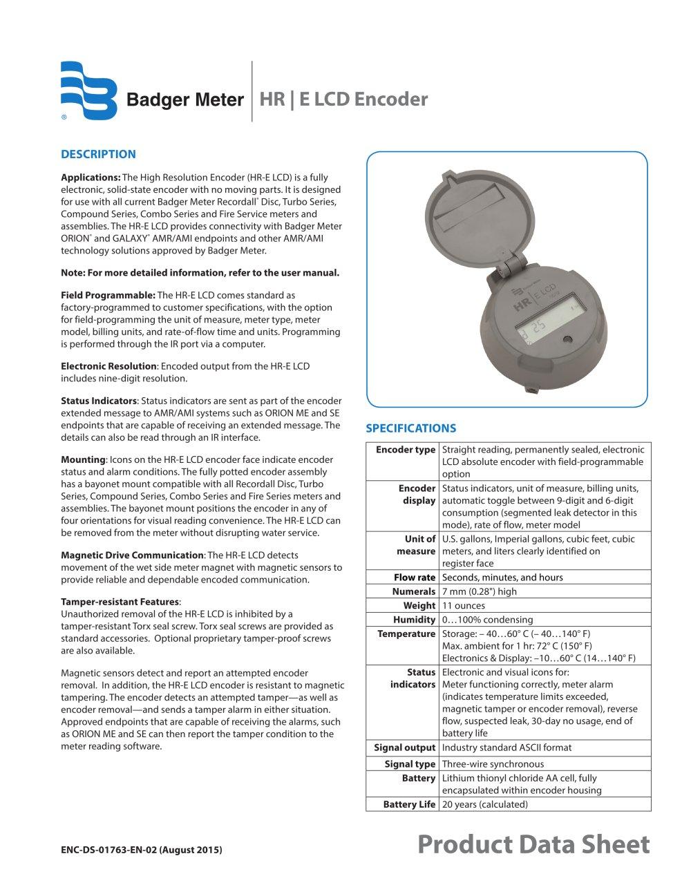 medium resolution of hr e lcd badger meter pdf catalogue technical documentation meter base diagram badger water meter wiring diagram