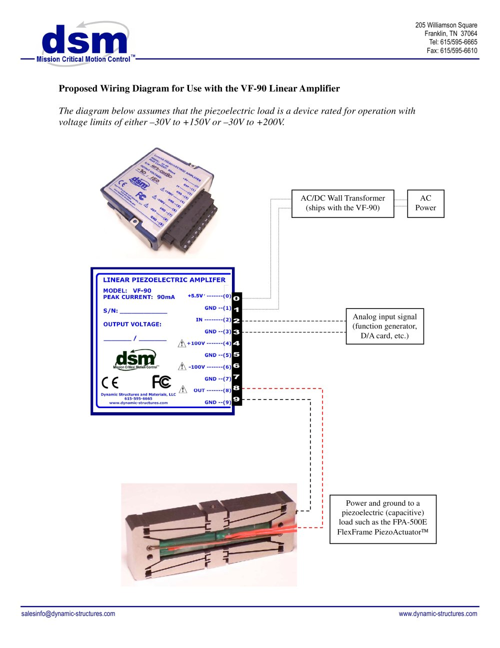 hight resolution of wiring diagram for use with the vf 90 piezo amplifier 1 1 pages
