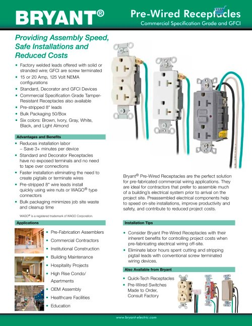 small resolution of pre wired receptacles 1 2 pages
