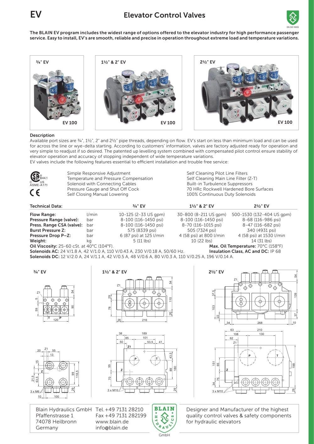 hight resolution of elevator control valves ev blain hydraulics gmbh pdf catalogue plc ladder diagram for elevator old esco elevator hydraulic wiring diagram