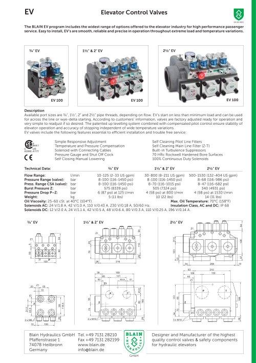 small resolution of elevator control valves ev blain hydraulics gmbh pdf catalogue plc ladder diagram for elevator old esco elevator hydraulic wiring diagram