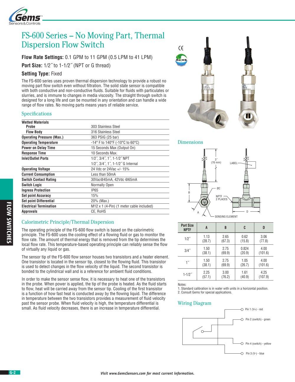 medium resolution of fs 600 no moving parts flow switch gems sensors controls pdf 2002 ford explorer window diagram gem sensors wiring diagrams