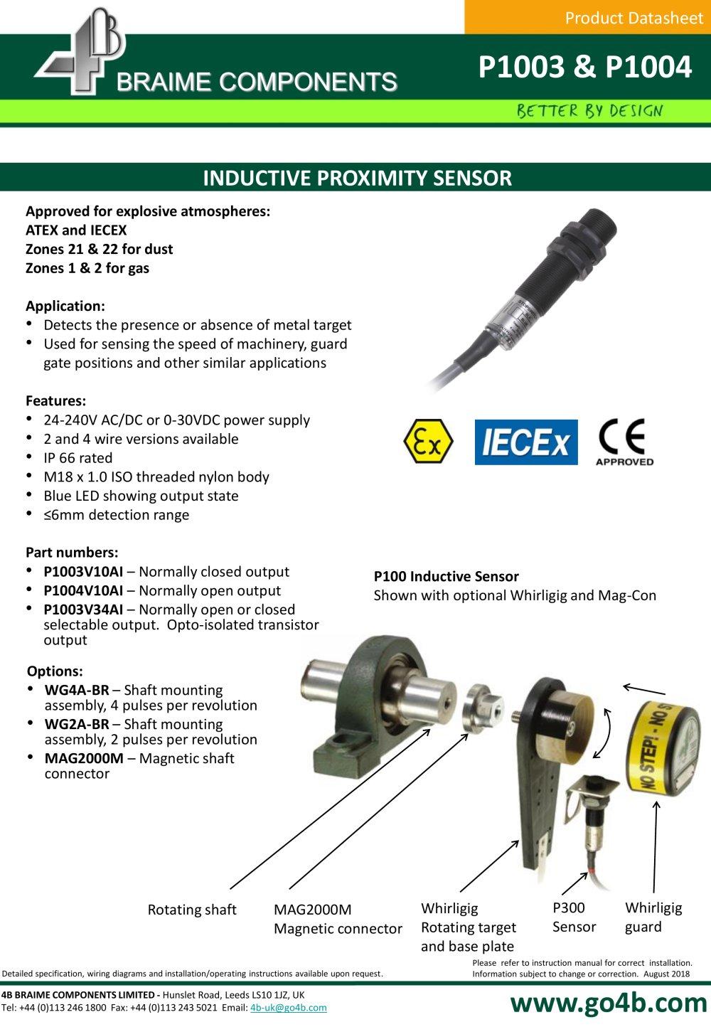 hight resolution of p1003 and p1004 18mm inductive proximity sensor 4b braime cat 3 wiring diagram ac inductive proximity