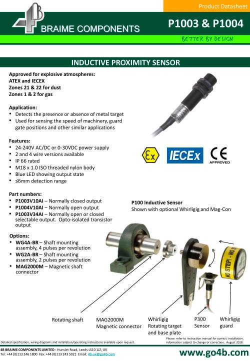 small resolution of p1003 and p1004 18mm inductive proximity sensor 4b braime cat 3 wiring diagram ac inductive proximity