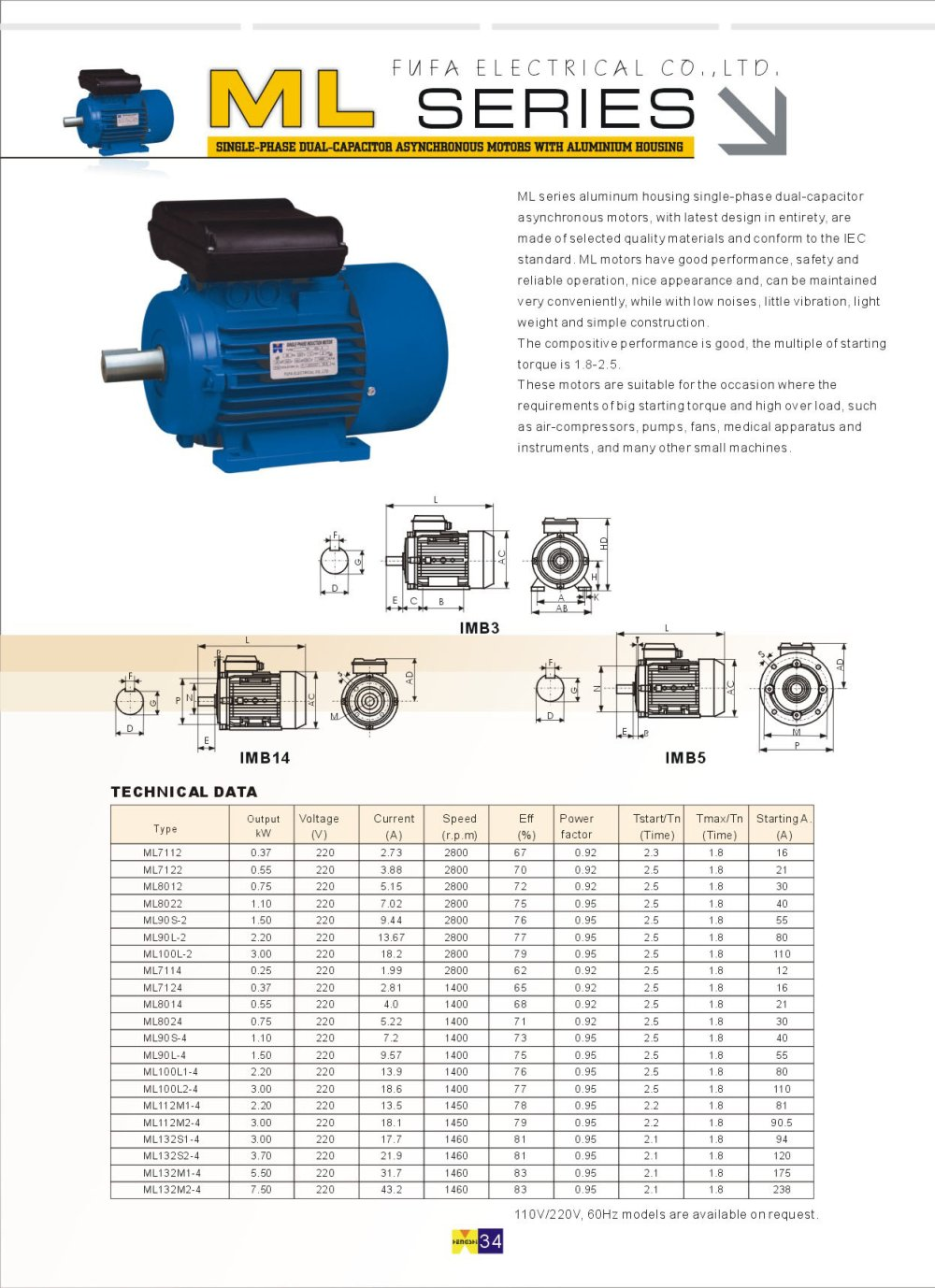 medium resolution of ml series single phase dual capacitor asynchronous motors with aluminium housing 1 1 pages