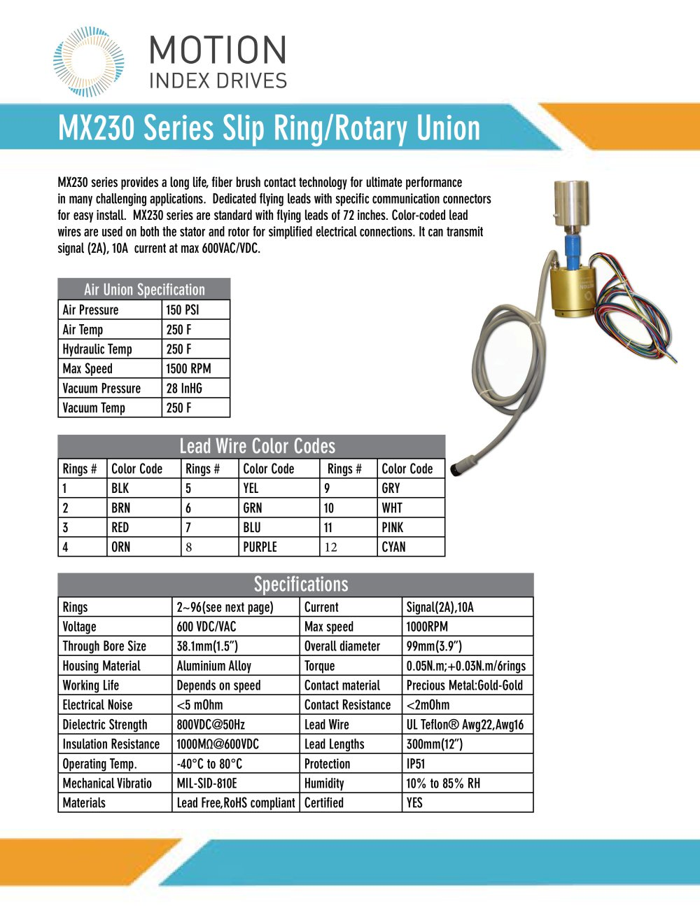 hight resolution of mx230 slip ring brochure 1 2 pages